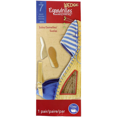 Dritz Espadrille Adult Wedge Soles KIT, Size 7