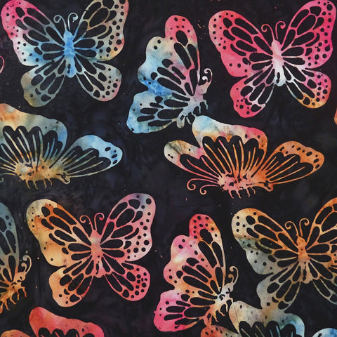Aeonium Butterflies - Rain Dance - Batik by Mirah Cotton Fabric