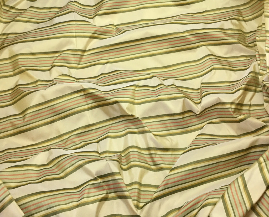 "Beige Gold & Green Stripe - Silk Taffeta (54"")"