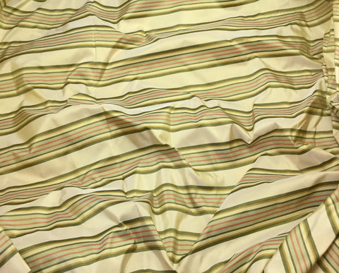 Beige Gold & Green Stripe - Silk Taffeta
