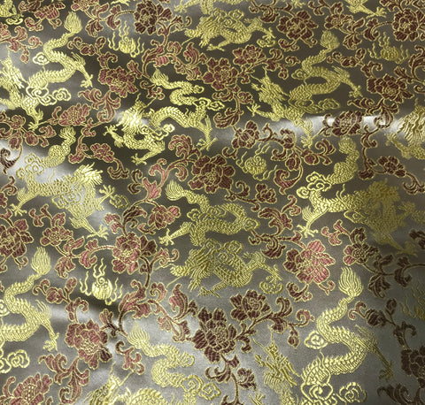 Beige & Gold Dragons - Faux Silk Brocade Fabric