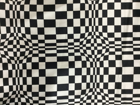 Black and White Dizzy Geometric - Silk Charmeuse