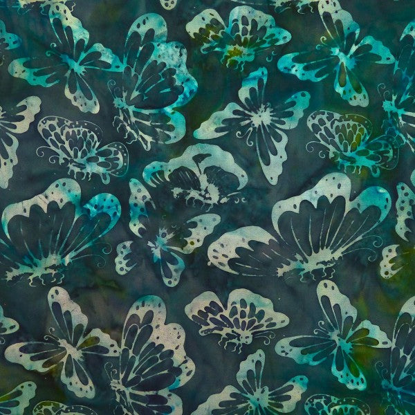 Bleached Aqua Butterflies - Sagebrush - Batik by Mirah Cotton Fabric