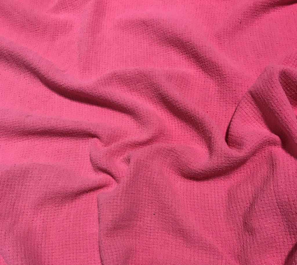 Bubblegum Pink - Hand Dyed Squares Weave Silk Noil