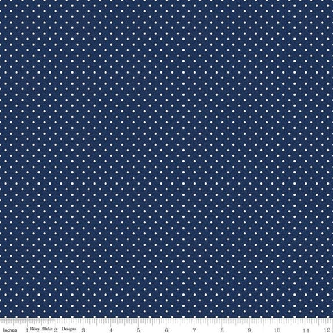 White Swiss Dot On Navy - Riley Blake Cotton Fabric