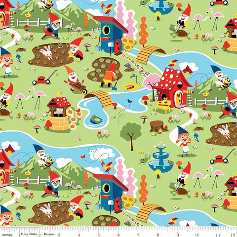Gnome and Gardens Main Green - Riley Blake Cotton Fabric