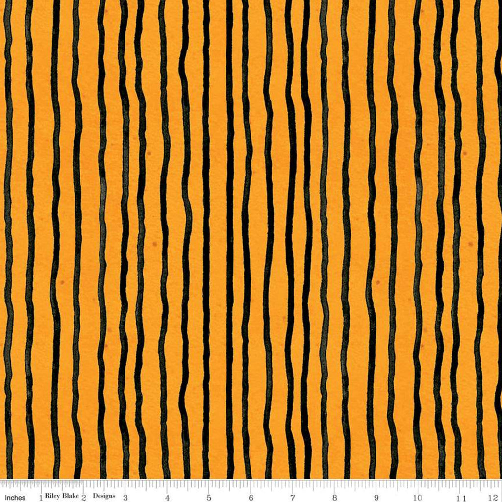 Wavy Stripes Orange - Goose Tales - by J. Wecker Frisch for Riley Blake Fabrics 100% Cotton Fabric