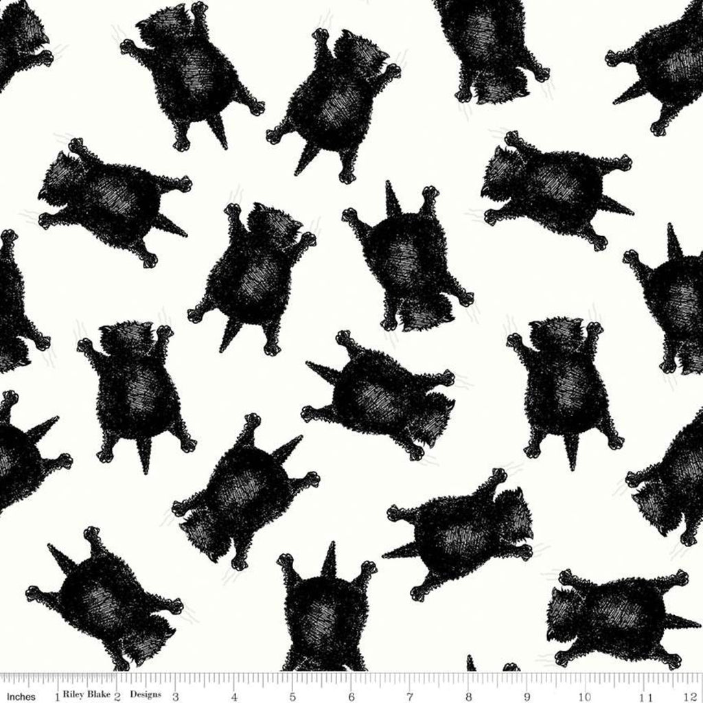 Scaredy Cats Toss Off White - Goose Tales - by J. Wecker Frisch for Riley Blake Fabrics 100% Cotton Fabric