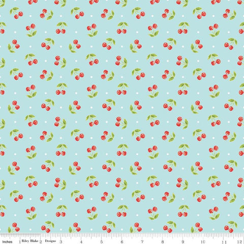 Glamper-licious - Cherries on Aqua - Riley Blake Flannel Cotton Fabric