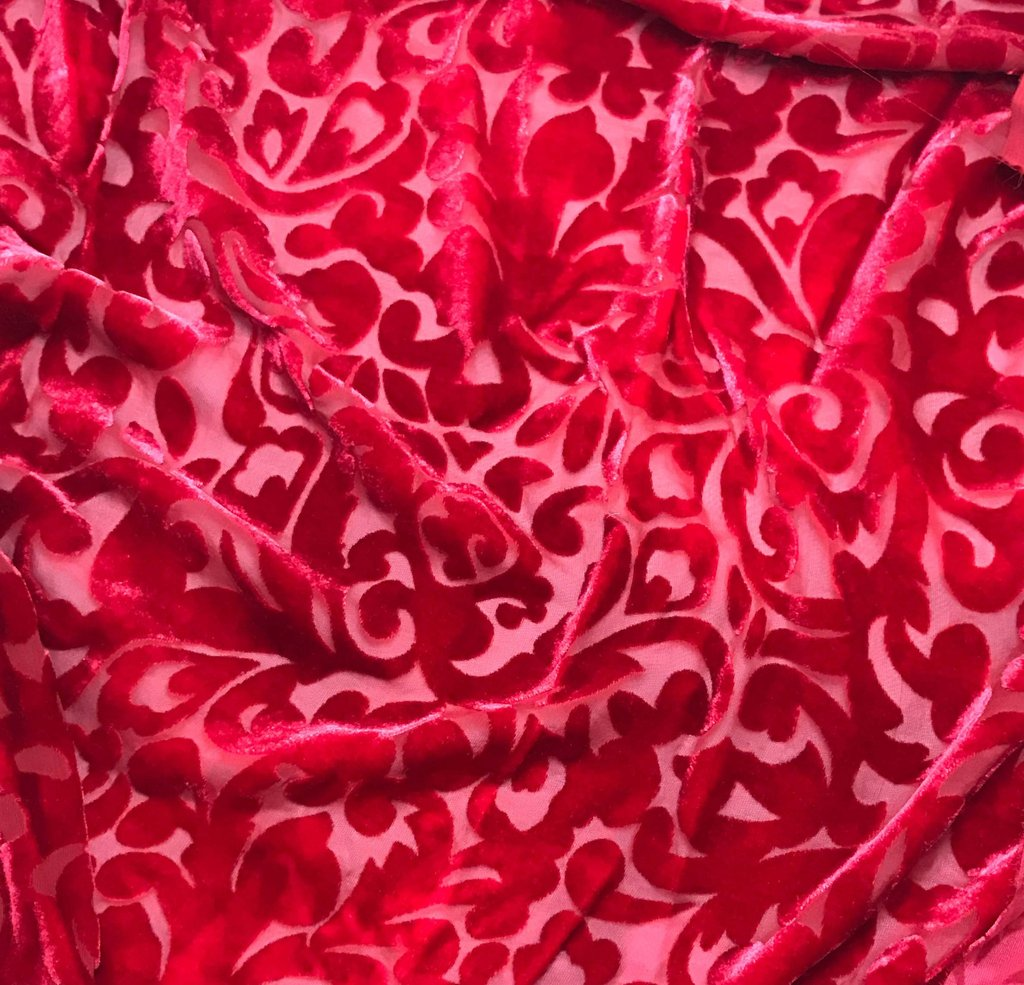 Cherry Red Scroll - Hand Dyed Burnout Silk Velvet