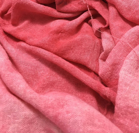 Coral Pink - Hand Dyed Poplin Gauze Silk Noil