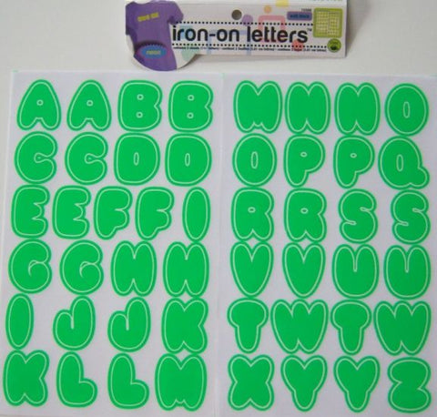 Dritz Iron-On Letters, Neon Green Bubble