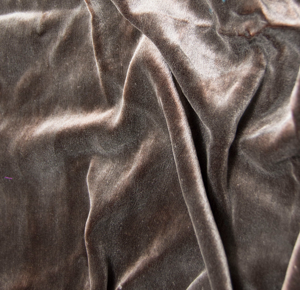 Hand Painted Silk Velvet Fabric - Silver on Chocolate Brown 1/4 Yard x 45""