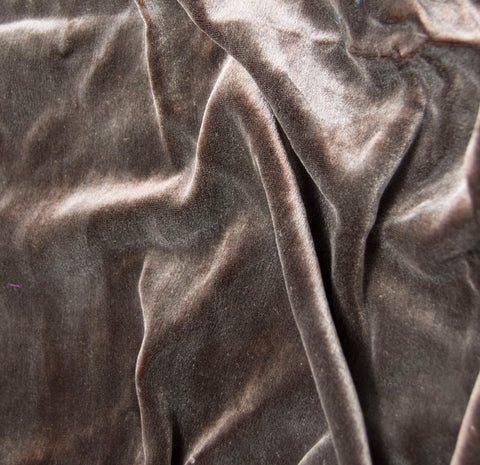 Hand Painted Silk Velvet Fabric - Silver on Chocolate Brown 45""