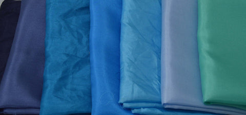 "China Silk Habotai Fabric Set - 7 Blues 1/4 Yard x 45"" Each"