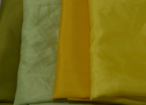 "China Silk Habotai Fabric Set - 4 Yellow & Green 1/4 Yard x 45"" Each"