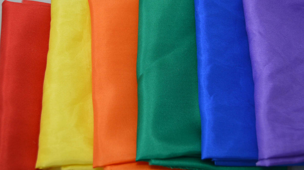 "China Silk Habotai Fabric Set - Rainbow Colors 1/4 Yard x 45"" Each 6 Colors"