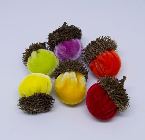 Silk Velvet Acorns Kit - Bright Colors (6 Acorns) Make Your Own!