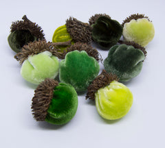 Silk Velvet Acorns Kit - Green Colors (9 Acorns) Make Your Own!
