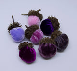 Silk Velvet Acorns - Pink & Purple Colors (7 Acorns)