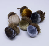 Silk Velvet Acorns - Metallic Colors (6 Acorns)