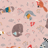 Dreaming of Snow - Animals Pink - Clothworks Cotton Fabric
