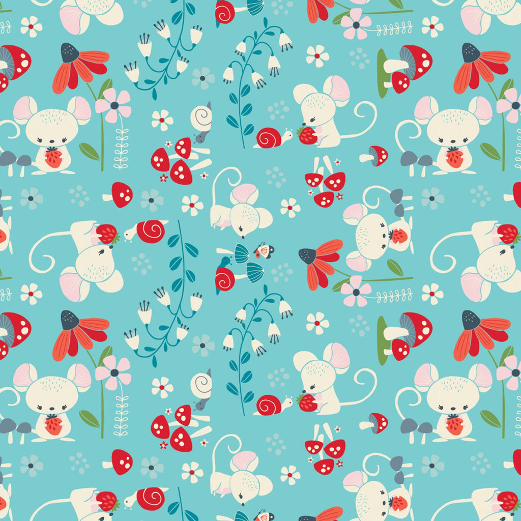 Enchanted Forest Whimsical Creatures Aqua - Camelot Cotton Fabric