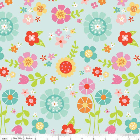 Bloom Where You're Planted Main Aqua - Riley Blake Cotton Flannel Fabric