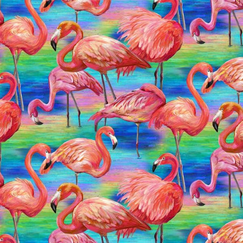 Fabulous Flamingos Allover Blue- Paintbrush Studio Cotton Fabrics