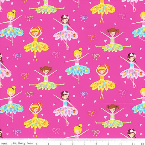 Flannel Ballerina Bow Main Pink - Riley Blake Cotton Flannel Fabric