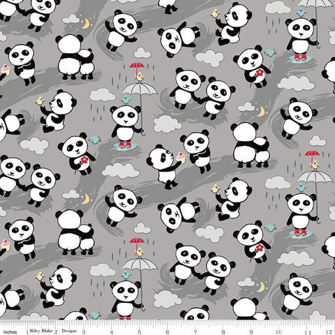 Flannel Panda Love Toss Gray - Riley Blake Cotton Flannel Fabric