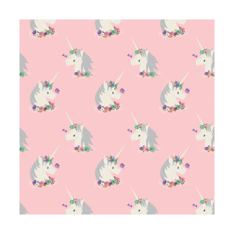 Flower Unicorns Pink - Camelot Flannel Cotton Fabric