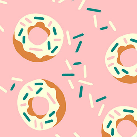 Food Trucks Donuts Pink - Paintbrush Studio Cotton Fabric