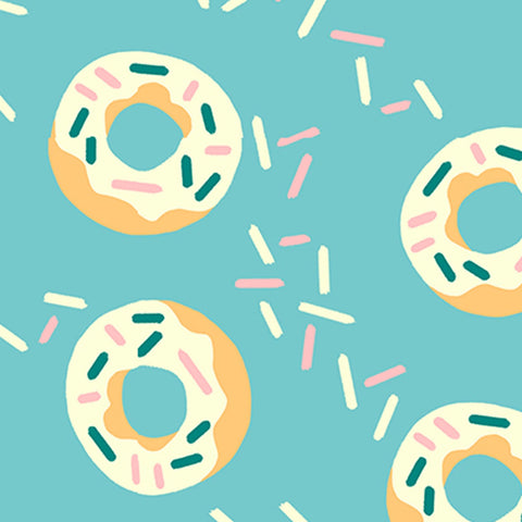 Food Trucks Donuts Teal - Paintbrush Studio Cotton Fabric