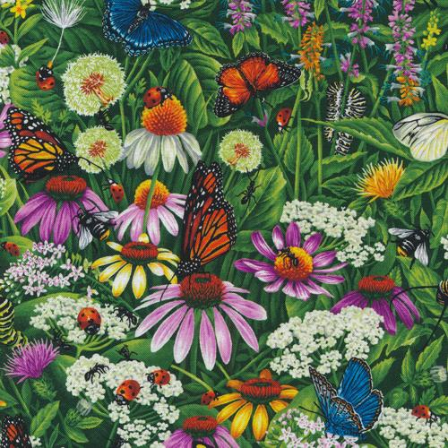Frolicking Fields - Wildflowers & Butterflies - Paintbrush Studio Cotton Fabrics