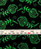 Mixed Medley - Contempo Feathers Green on Black - Cotton Quilting Fabric