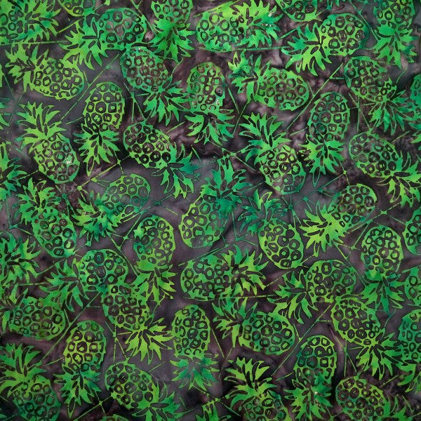 Grotto Green Pineapples - Hens & Chicks - Batik by Mirah Cotton Fabric