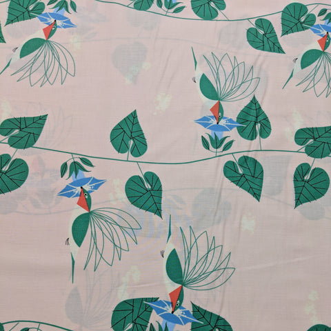 Backyard- Hummingbirds- Birch Organic Fabrics -Premium Cotton Fabric
