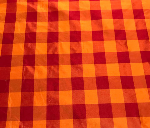 Red & Orange Check - Silk Taffeta Fabric