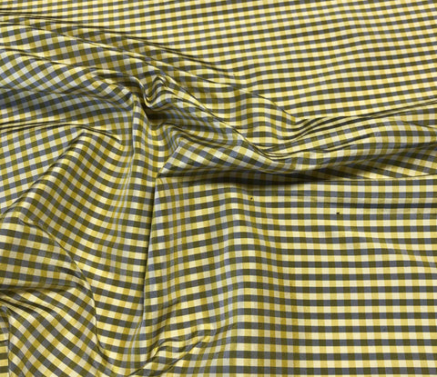 Gold & Gray Gingham Check - Silk Taffeta Fabric