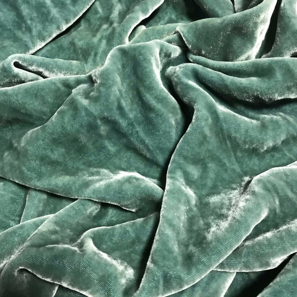 Gray Green  - Hand Dyed Silk Velvet