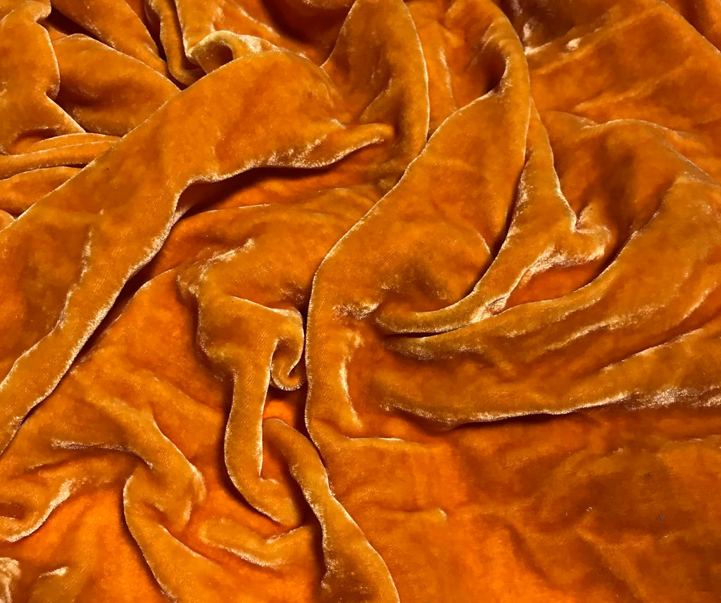 Saffron Orange - Hand Dyed Silk Velvet