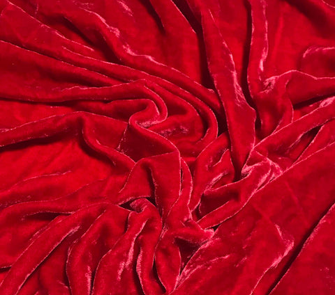 Poinsettia Red - Hand Dyed Silk Velvet
