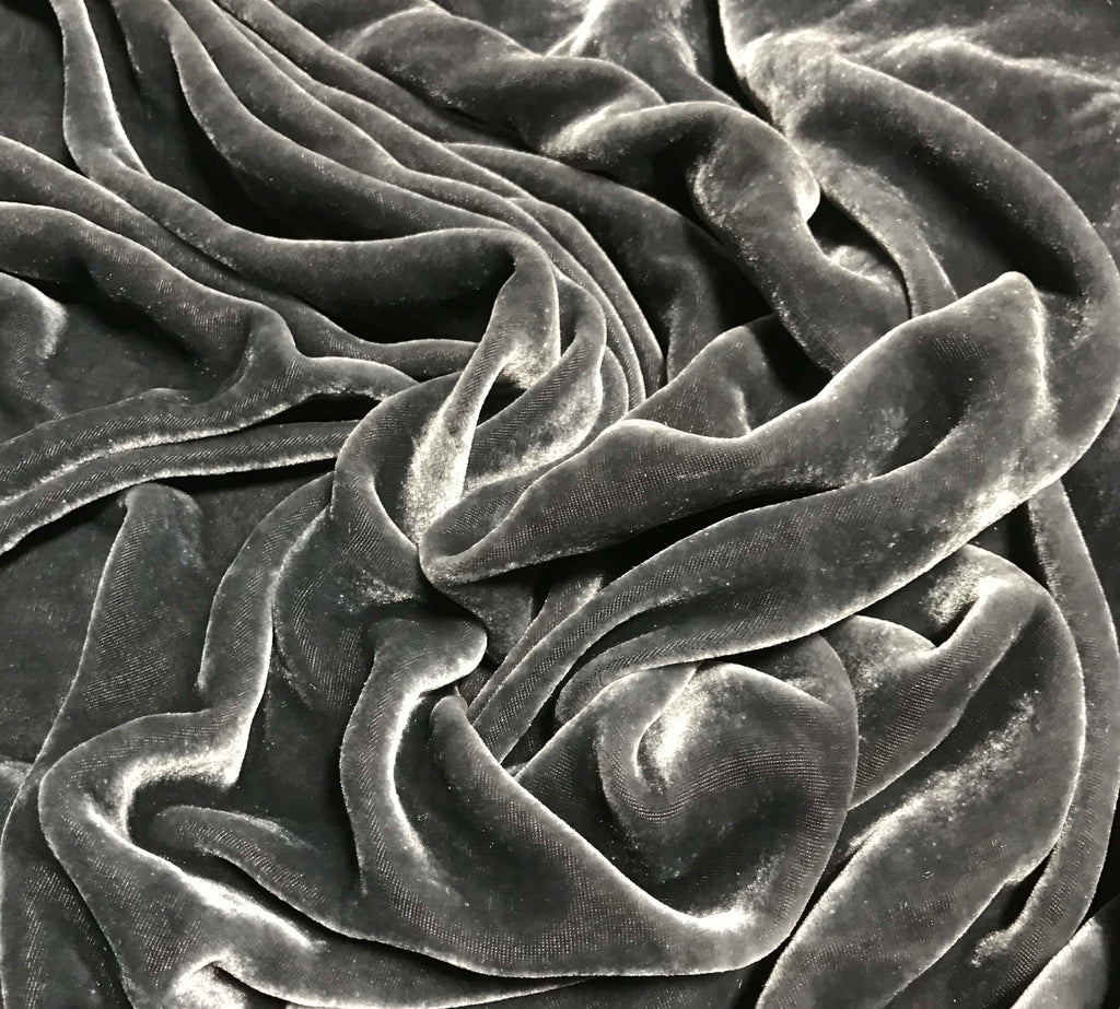 Pewter Gray - Hand Dyed Silk Velvet