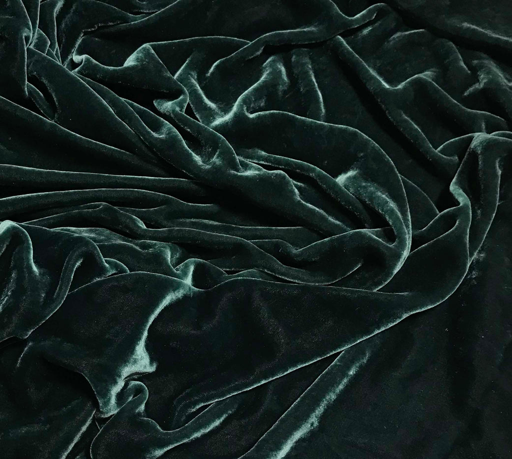 Deep Teal Green - Hand Dyed Silk Velvet