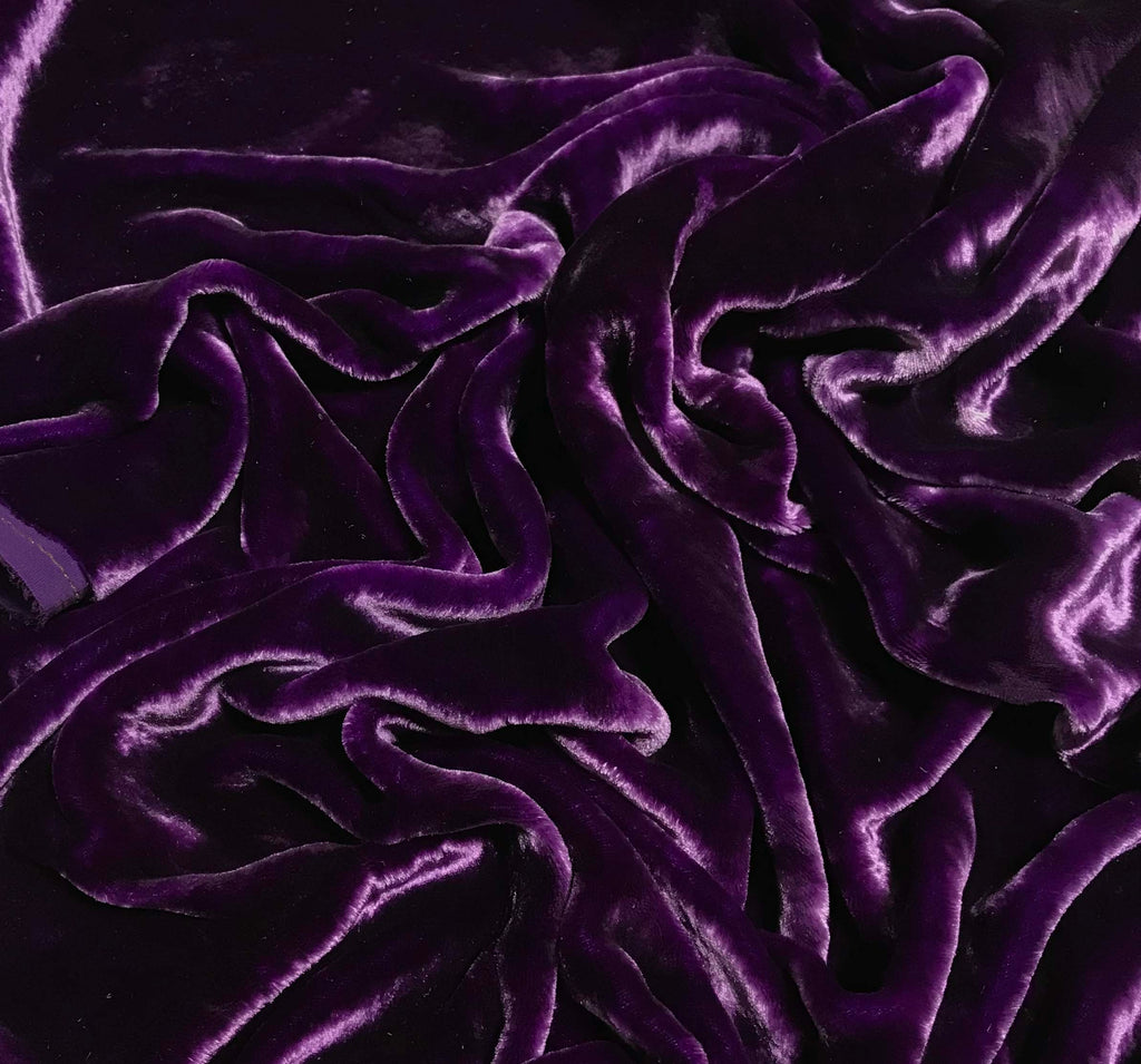 Purple - Hand Dyed Very Plush Silk Velvet