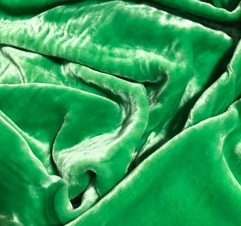 Bright Green - Hand Dyed Silk Velvet