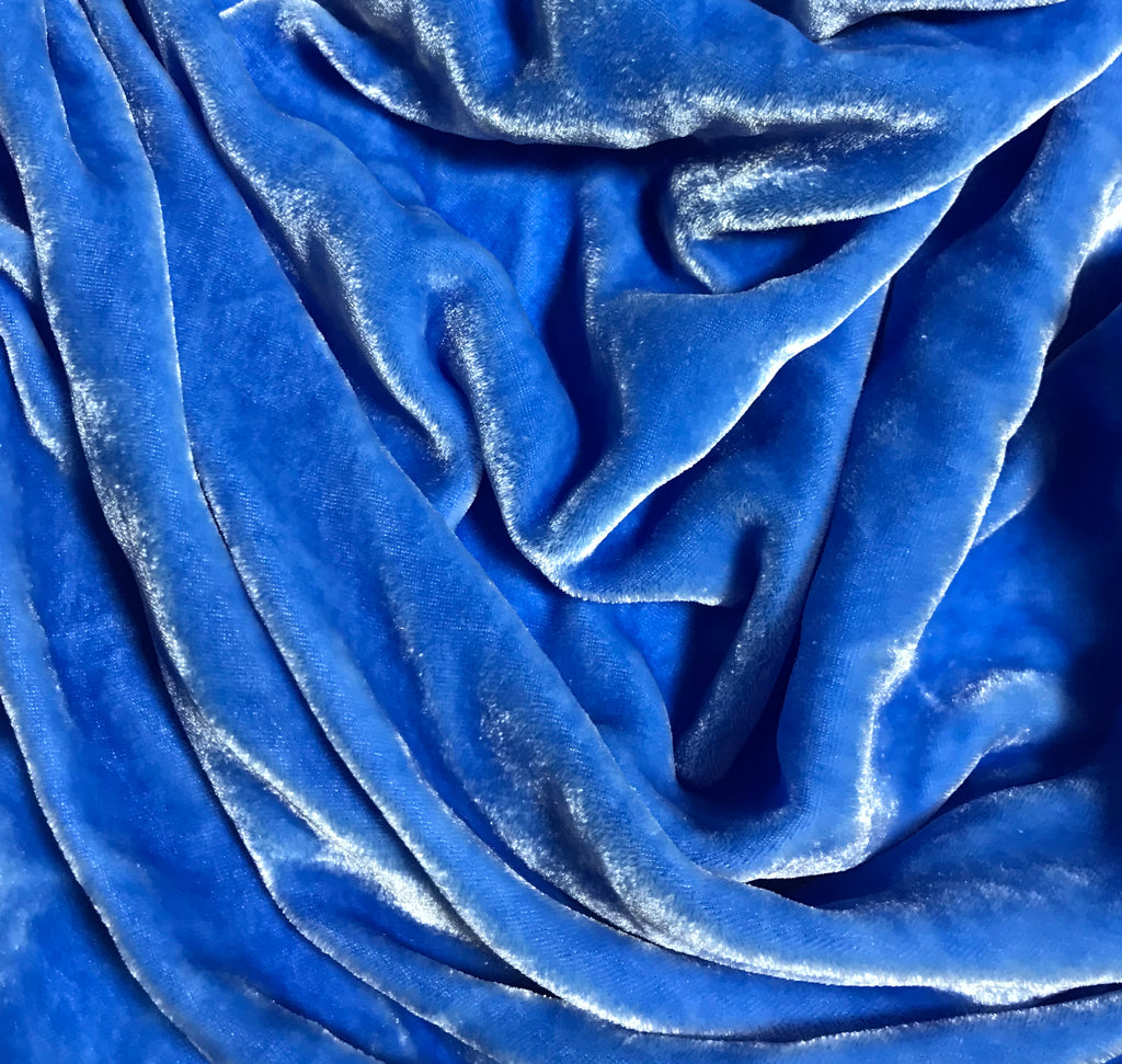 Alpine Blue  - Hand Dyed Silk Velvet