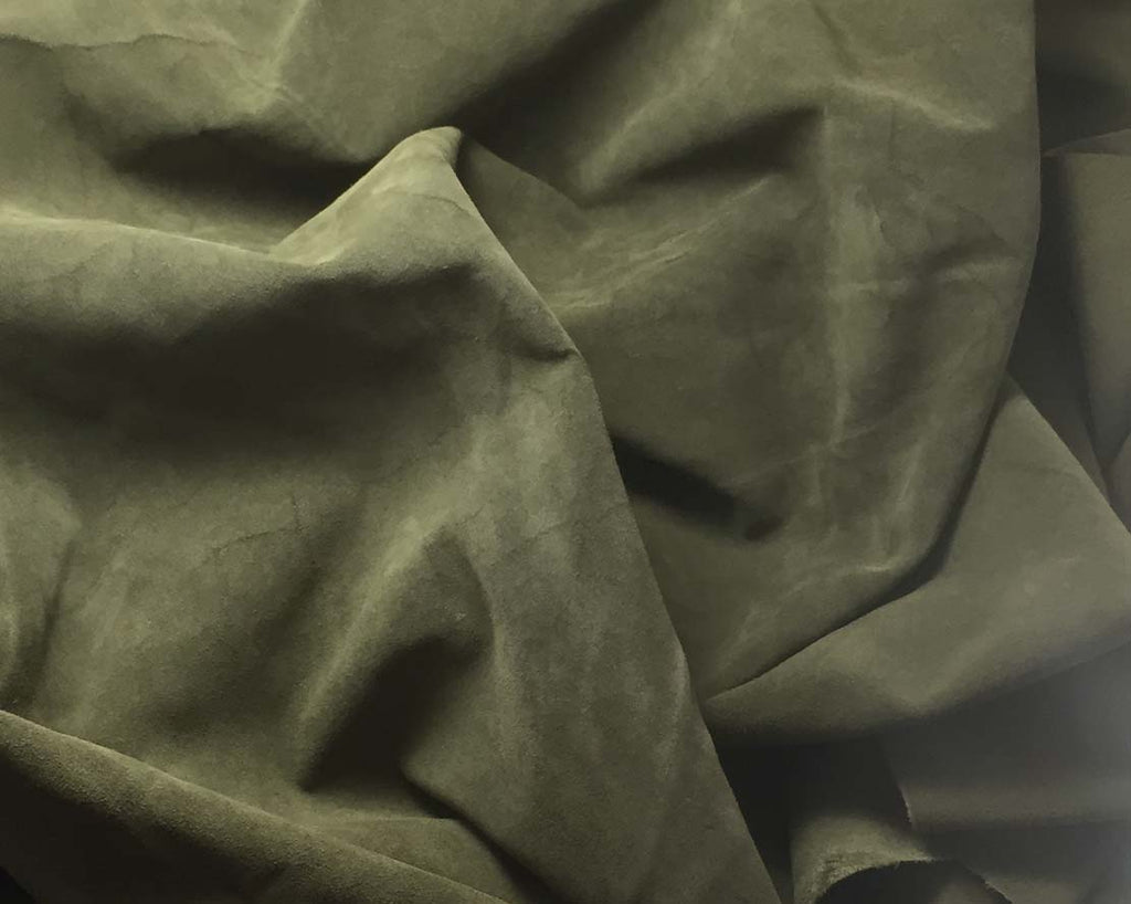 Olive Green - Suede Lambskin Leather