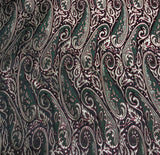 Black, Gold & Burgundy Paisley - Silk Brocade Fabric
